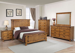 Natural & Honey Eastern King Panel Bed w/Dresser, Mirror, Nightstand & Drawer Chest