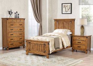 Natural & Honey Twin Panel Bed w/Dresser, Mirror & Drawer Chest