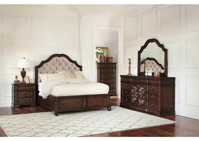 Ilana Antique Java & Cream Fabric Eastern King Storage Bed