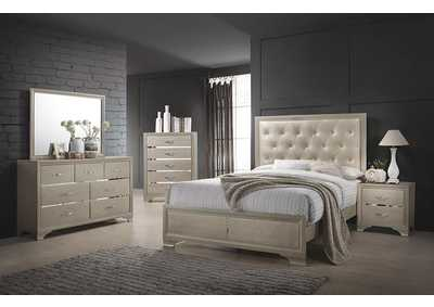 Beaumont Champagne & Cream Upholstered Eastern King Panel Bed
