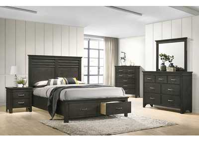 Newberry Bark Wood Storage Eastern King 4 Piece Bedroom Set