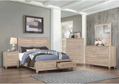 Wenham Natural Oak Storage Eastern King 4 Piece Bedroom Set