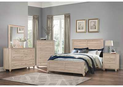 Wenham Natural Oak Panel Eastern King 4 Piece Bedroom Set