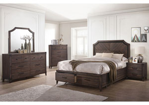Richmond Dark Grey Oak Queen Storage Bed