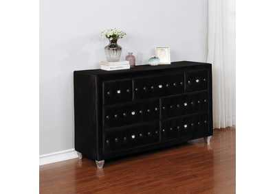 Deanna Metallic & Black Queen Bed w/Dresser & Mirror