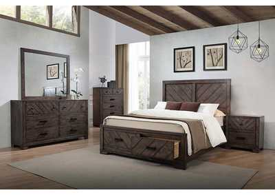 Lawndale Rustic Weathered Grey Eastern King Bed