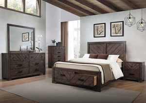 Lawndale Dark Brown Queen Storage Bed