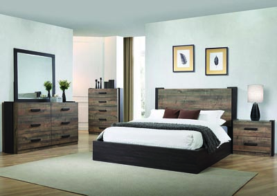 Weston Weathered Oak & Rustic Coffee California King Platform Bed w/Dresser & Mirror