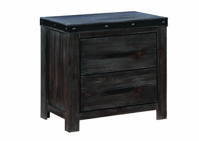 Barn Door Grey Nightstand