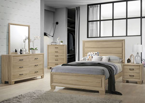Vernon White Washed Oak Queen Panel Bed
