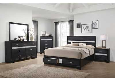 Miranda Black Eastern King Storage Bed W/ Dresser & Mirror