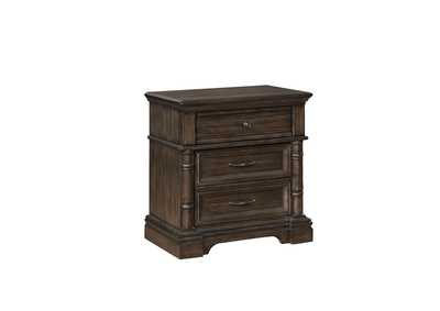 Heirloom Brown 3 Drawer Nightstand
