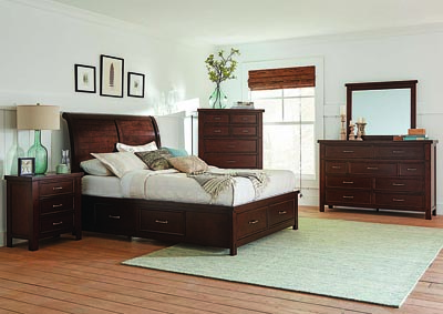 Barstow Pinot Noir Eastern King Storage Bed w/Dresser & Mirror