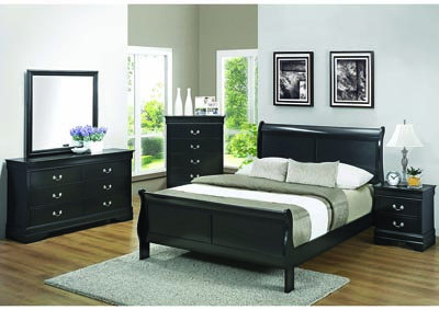 Louis Philippe Black Queen Sleigh Bed w/Dresser, Mirror, Chest, Nightstand