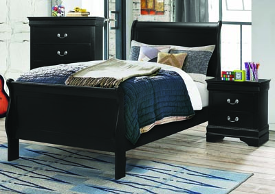 Louis Philippe Black Twin Panel Bed
