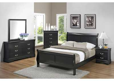 Louis Philippe Black Queen Panel Bed w/Dresser, Mirror and Nightstand
