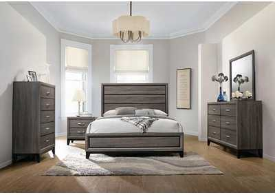 Watson Rustic Grey Oak Queen Panel Bed