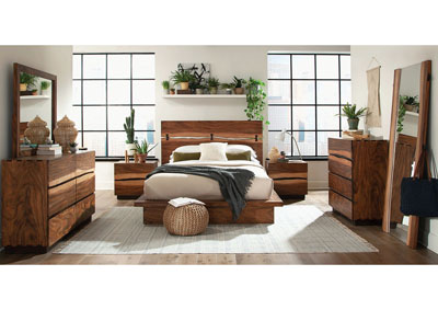 Smoky Walnut Queen Platform Storage Bed