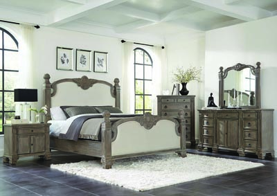 Vintage Gray Upholstered Queen Bed