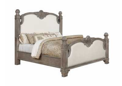 Jenna Vintage Grey Upholstered Queen Bed