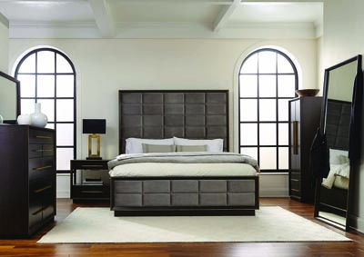 Smoked Peppercorn Upholstered Eastern King Panel Bed