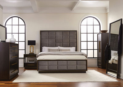 Smoked Peppercorn Upholstered California King Panel Bed