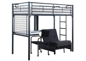Metal Loft Bunk Bed w/Desk