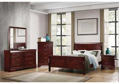 Louis Philippe Cherry Eastern King Panel Bed