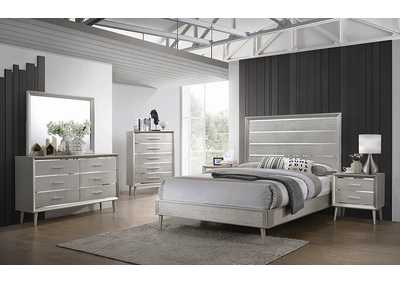 Ramon Metallic Sterling Panel California King 5 Piece Bedroom Set