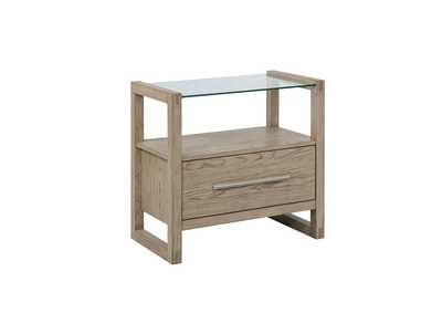 Smithson Grey Oak 1-Drawer Glass Top Nightstand