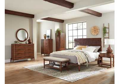 Image for San Mateo Desert Teak Platform Queen 5 Piece Bedroom Set