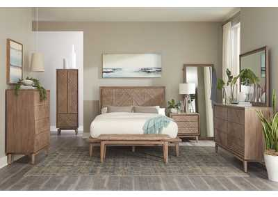 Vanowen Sandstone Platform Queen 5 Piece Bedroom Set