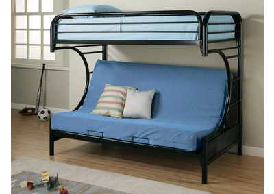 Glossy Black Futon Bunk Bed