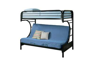 Horizon Contemporary Glossy Black Futon Bunk Bed