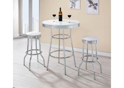 White Round Bar Table