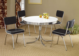 Round Retro Dining Table w/4 Black Side Chairs