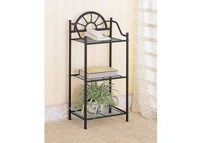 Black Traditional Three-Shelf Accent Table