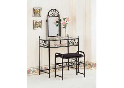 Black Vanity w/Glass Top and Fabric Stool