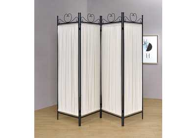 Black/Gold Four-Panel Folding Screen