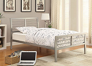 LeClair Silver Metal Full Platform Bed