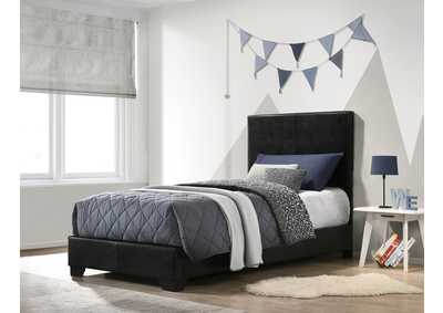 Conner Black Upholstered Twin Platform Bed