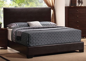 Conner Dark Brown & Cappuccino Upholstered Queen Platform Bed