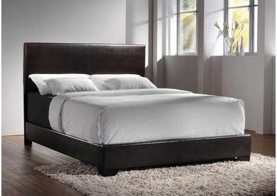 Conner Dark Brown & Cappuccino Upholstered Eastern King Platform Bed
