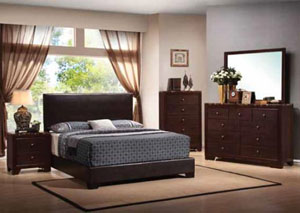 Conner Dark Brown & Cappuccino Upholstered Full Platform Bed