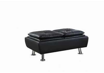 Image for Chrome Dilleston Contemporary Black Ottoman