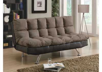 Overstuffed Brown Sofa Bed
