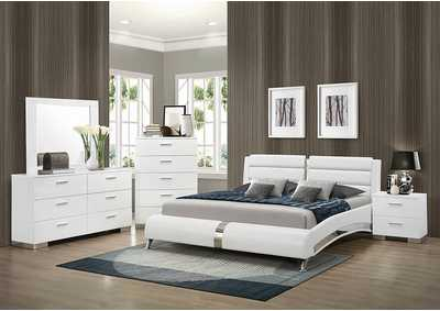 Felicity White Upholstered Eastern King Bed