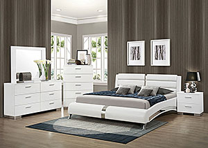 White Eastern King Upholstered Bed w/Dresser, Mirror, Chest & Nightstand