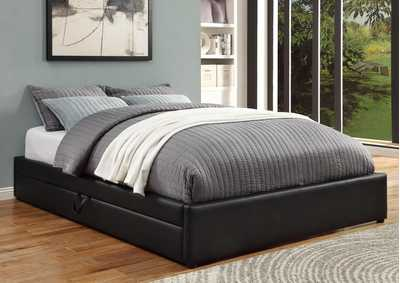 Hunter Black Upholstered Queen Storage Bed
