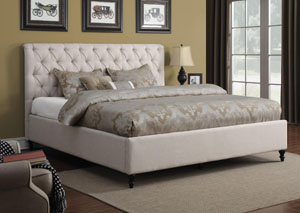 Off White Upholstered Queen Bed